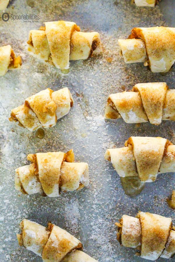 Step by Step for an Easy Rugelach cookie - Sprinkle the top with sugar. Fig Jam Available at Spoonabilities