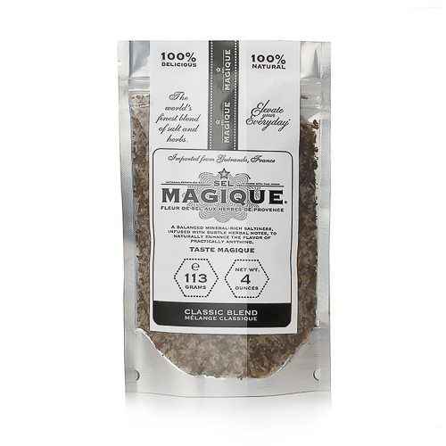 Fleur de Sel French Sea Salt Classic Blend Small Bag 4oz stand-up resealable bag by Sel Magique. Spoonabilities.com