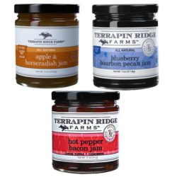 Gourmet Jam Gift Set includes the Hot Pepper Bacon Jam, Blueberry Bourbon Pecan Jam and the Apple Horseradish Jam. Producer Terrapin Ridge Farms, available at Spoonabilities.com
