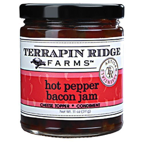 Gourmet Jam Gift Set includes Hot Pepper Bacon Jam -roasted red bell pepper puree, jalapeno peppers and bacon combine to create an addictive jam. Producer Terrapin Ridge Farms. Buy at Spoonabilities.com