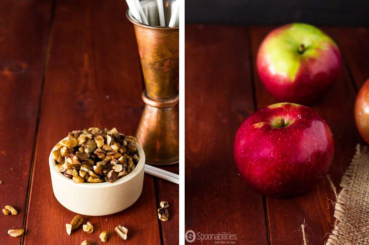 Small bowl of chopped pecans and two whole red apples
