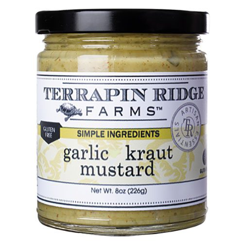 What happens when you add sauerkraut to mustard? Your pork dishes rejoice! Garlic Kraut Mustard 3-pack is the perfect match for corned beef or roast beef sandwiches, grilled sausages & kielbasa. #mustard #garlic #sauerkraut #gourmetmustard