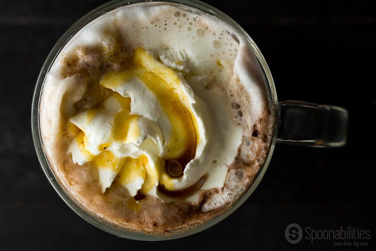 Homemade Pumpkin Spice Mocha is made with Pumpkin Spice Syrup from Blackberry Patch. Spoonabilities.com