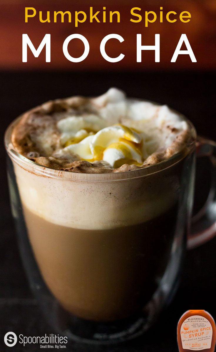Hot Pumpkin Spice Mocha is made with Pumpkin Spice Syrup from Blackberry Patch. Spoonabilities.com