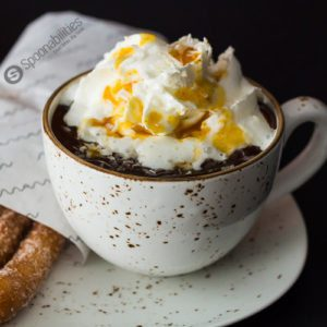 Thick Spiced Spanish Hot Chocolate recipe with coconut milk, cardamom, and espresso powder