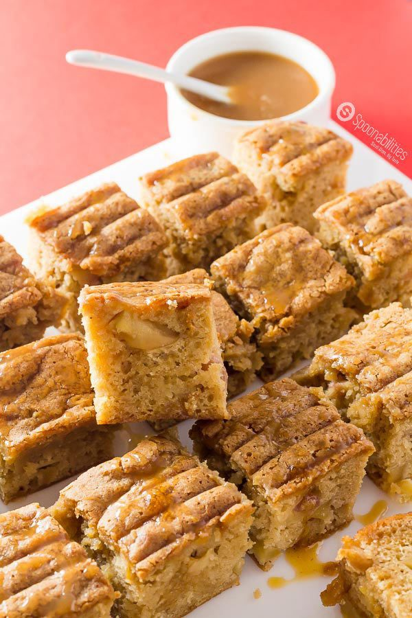 Salted Caramel Apple Blondies are gooey, chewy, moist, and addictive. This sauce is gluten free, no GMO, no corn syrup, all natural, made in small badges. Salted Caramel Sauce by Coop's available at Spoonabilities.com