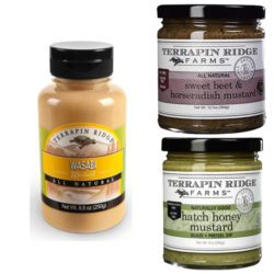 Gourmet Spicy Mustard Combo Pack includes Wasabi Mustard, Sweet Beet and Horseradish Mustard & Hatch Honey Mustard. Produced by Terrapin Ridge Farms and available at Spoonabilities.com