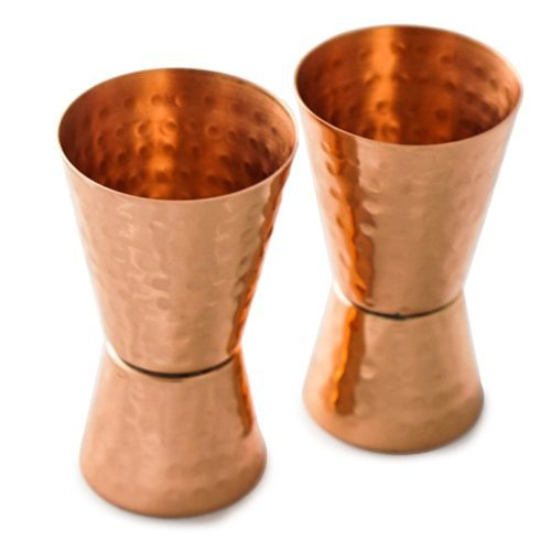 Antique Copper Jigger Copper Jigger Shot Glasses. 100% Copper Double Jiggers (1oz/2oz). Hammered Tall. Set of 2.