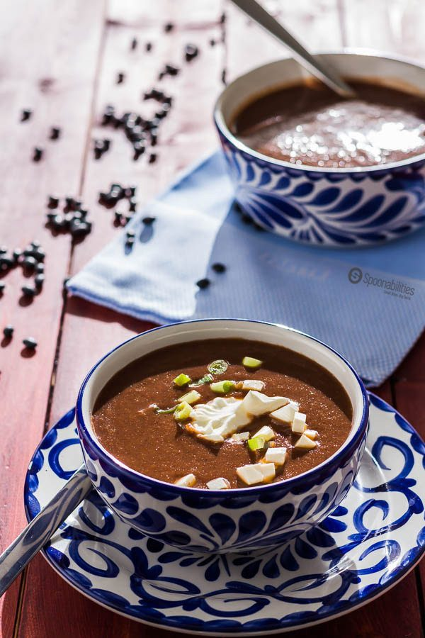 two blue bowls of Black Bean Soup
