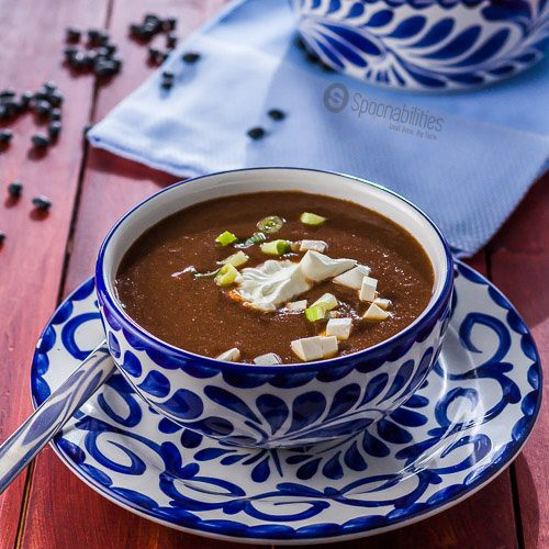 Black Bean Soup Recipe only 10 minutes to make and 6 ingredients. Vegan, vegetarian and full of Caribbean flavor. Made with our Roasted Red Pepper Salsa from Taste Weavers. Available at Spoonabilities.com