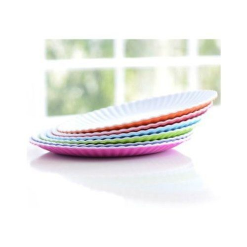Glitterville Reusable Melamine Appetizer or Dessert Plate, 6 Inch, Set of 6