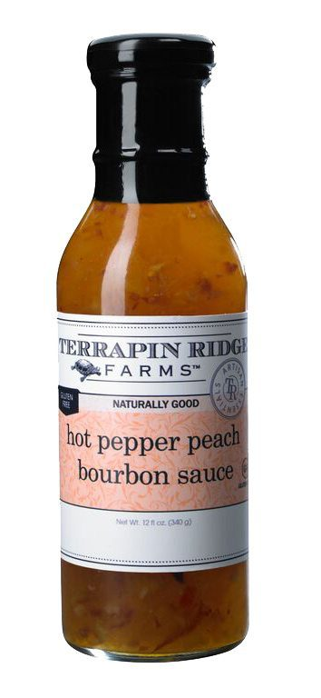 Gourmet Glaze and Sauce Gift Set 3-pack with Hot Pepper Peach Bourbon Sauce from Terrapin Ridge Farms. You can use them to broil, bake, Grill or just out of the jar to elevate your everyday meals into delicious gourmet meals. Available at Spoonabilities.com