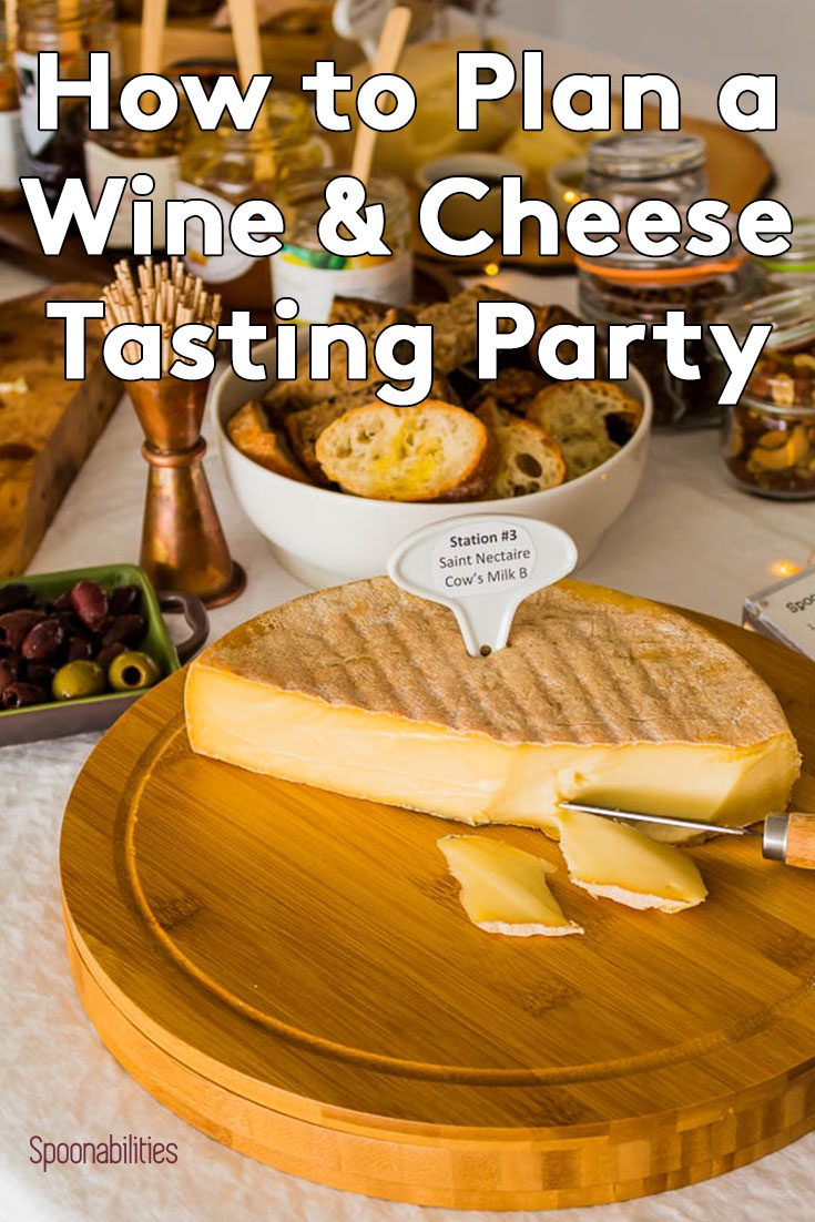 Table set for wine and cheese tasting party