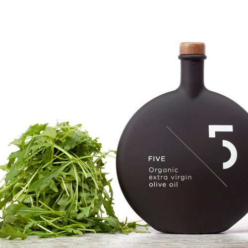 Five Organic Extra Virgin Olive Oil . This Gourmet EVOO is Obtained directly from handpicked, sustainable grown, organic olives. Arugula