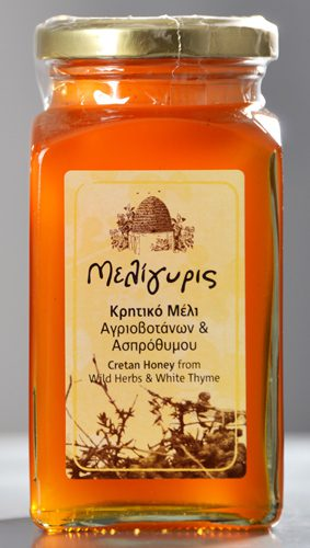 Meligyris Cretan Honey Wild Herbs White Thyme as part of the Greek Honey Gift Set along with Pine Thyme Honey. Honey has a high nutritional value. Available at Spoonabilities.com