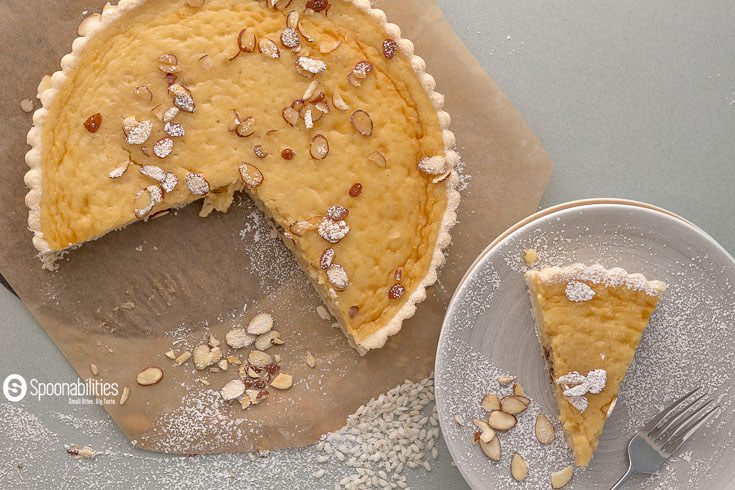 "Traditional Swiss Easter Rice Tart is a very popular dessert recipe in Switzerland as ""gâteau de Pâquesrt"" and it's only served during Easter week. Spoonabilities.com"