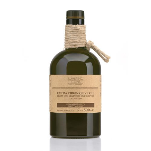 Navarino Icons Kalamata ELEON Extra Virgin Olive Oil in a Glass Bottle. Hand-picked olives, cold pressed with lovely fruit and spicy flavor and distinctive aroma. Available at Spoonabilities.com