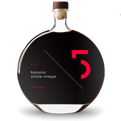 Greek FIVE Estate Balsamic Vinegar made from white grapes aged for 6 years in oak and chestnut barrels. Available at Spoonabilities.com