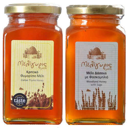 Meligyris Greek Honey Gift Set includes Woodland Honey Sage & Cretan Thyme Honey. Two pack of Greek Herbal Honey. Available at Spoonabilities.com