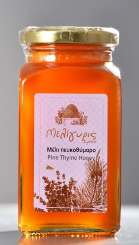 Meligyris Pine Thyme Honey part of the Greek Honey Gift Set along with Cretan Honey Wild Herbs White Thyme. Available at Spoonabilities.com