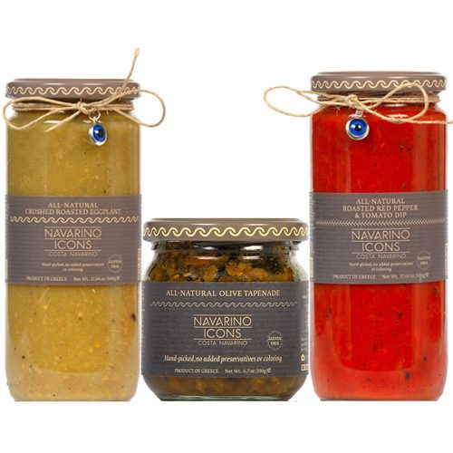 Traditional Greek Antipasto Gift set includes Roasted Red Pepper & Tomato Dip, Roasted Crushed Eggplant, Greek Olive Tapenade. From Navarino Icons. Available at Spoonabilities.com