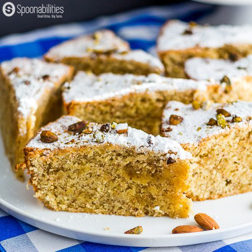 Persian Almond Cardamom Pistachio Cake is a moist and aromatic dessert recipe. Served for Passover using Kosher ingredients. Featuring Pure Cottonseed oil from Acala Farms. Available at Spoonabilities.com