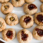 Plate of Walnut Macaroon Thumbprint Cookies