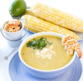 Creamy Hatch Green Chile Soup with Cilantro Lime Grilled Shrimp