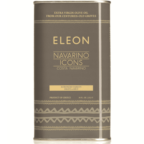 Extra Virgin Olive Oil Navarino Icons ELEON in a 1 Liter tin. Hand-picked Kalamata olives, cold pressed with lovely fruity and spicy flavor and distinctive aroma. Available at Spoonabilities.com