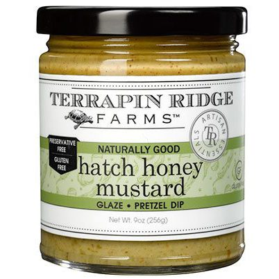 Hatch Honey Mustard is Delicious as a glaze for pork, chicken, fish and smoked turkey. Use in sandwiches or a wrap. This Gourmet Spicy Mustard is produced by Terrapin Ridge Farms, available at Spoonabilities.com