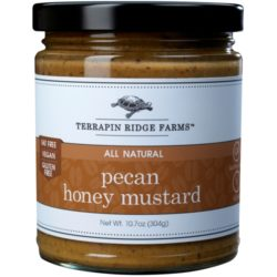 Pecan Honey Mustard from Terrapin Ridge Farms is delicious honey mustard with decadent pieces of pecans. Dip in pretzels for a quick snack. Upgrade your party, tailgate, game night or mid-day snack. More uses and recipes @Spoonabilities Spoonabilities.com $7.99