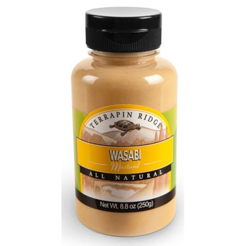 Wasabi Mustard Squeeze Bottle. Wasabi Mustard is great as an ingredient or condiment. Serve with pork, chicken, swordfish, tuna, or roast beef sandwich, burger, potato or pasta salad. This Gourmet Spicy Mustard is produced by Terrapin Ridge Farms, available at Spoonabilities.com