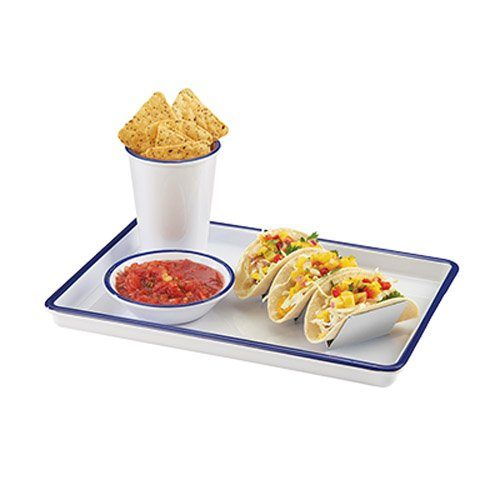 "Cal-Mil 3463-15 Enamelware Serving Tray, 1"" Height on Amazon"