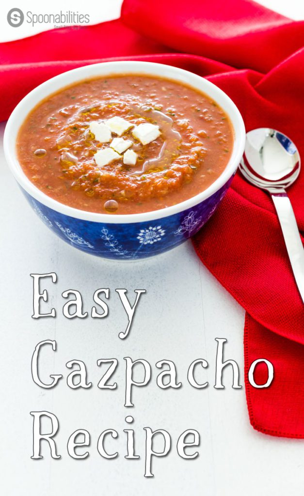 Easy Gazpacho Recipe is a 10 minutes recipe that is originally from Spain. You will love this rich tomato cold soup made with Roasted Red Pepper Salsa. Spoonabilities.com