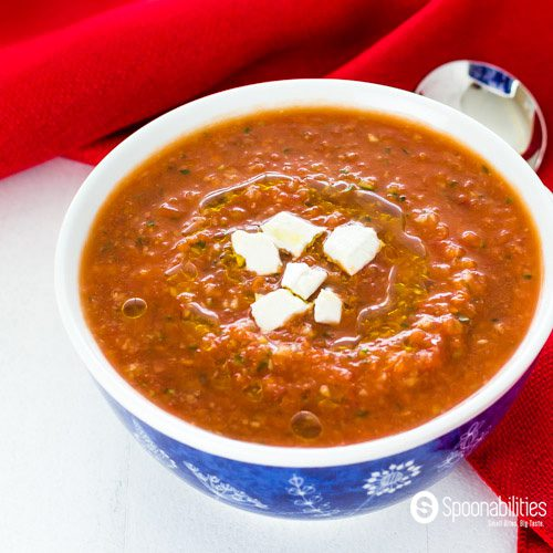 Easy Gazpacho Recipe is a traditional Spanish cold soup. This one made with Roasted Red Pepper Salsa by Taste Weavers, fresh vegetables and Greek olive oil from Navarino Icons Eleon. It only takes 10 minutes to make. Spoonabilities.com