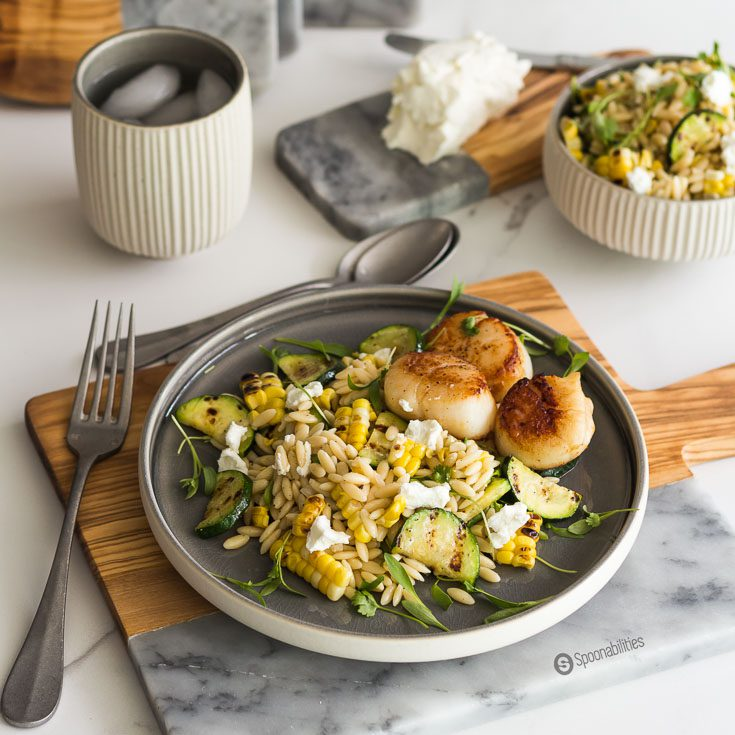 Cilantro MicroGreens give a subtle taste to this Grilled Corn Zucchini Orzo Salad with a peppery bite and a hint of grassiness. Spoonabilities.com