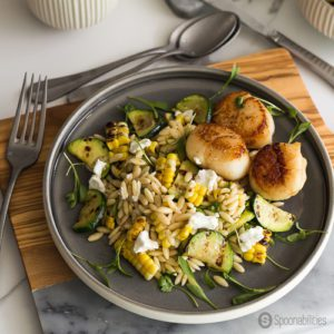 Grilled Corn Zucchini Orzo Salad with Goat Cheese & Seared Scallop
