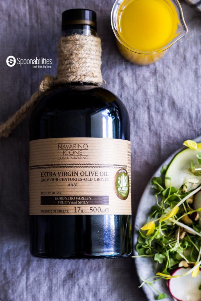 Navarino Icons Eleon Extra Virgin Olive Oil is an important ingredient in the Champagne Mustard Vinaigrette on top of a delicious Pea Shoot Salad. Spoonabilities.com