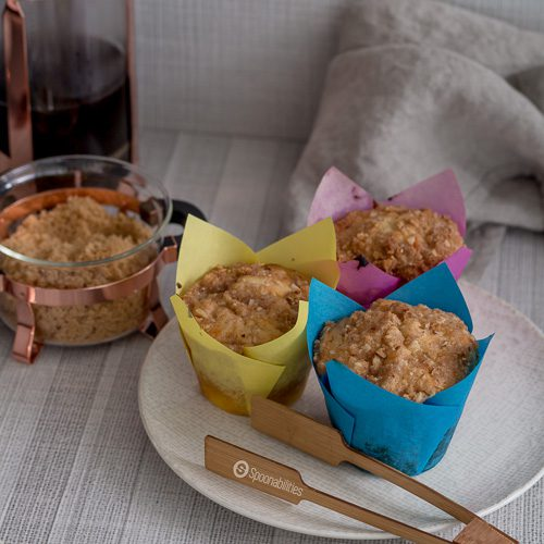 Apricot Cheesecake Muffins are moist & airy with a sweet crumble topping. A perfect breakfast or snack recipe. Spoonabilities.com
