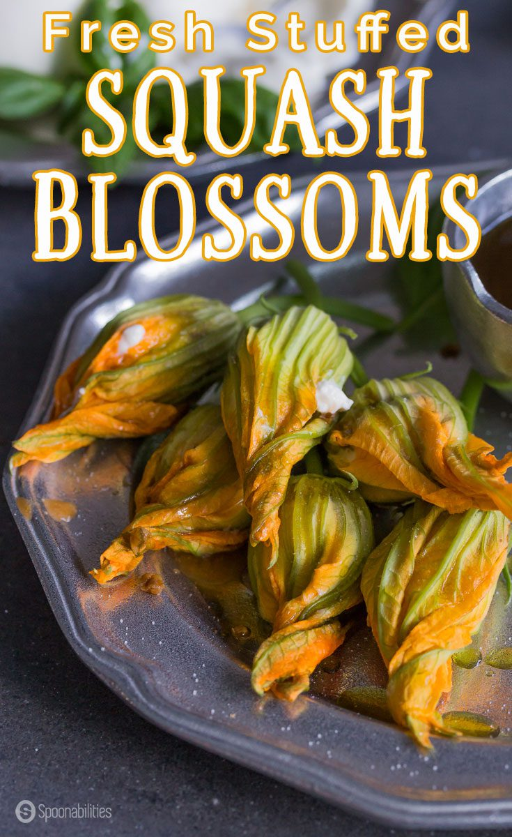 Fresh Stuffed Squash Blossoms is a unique and easy appetizer of edible flowers from BrightFresh filled with creamy burrata and black olive tapenade. Spoonabilities.com