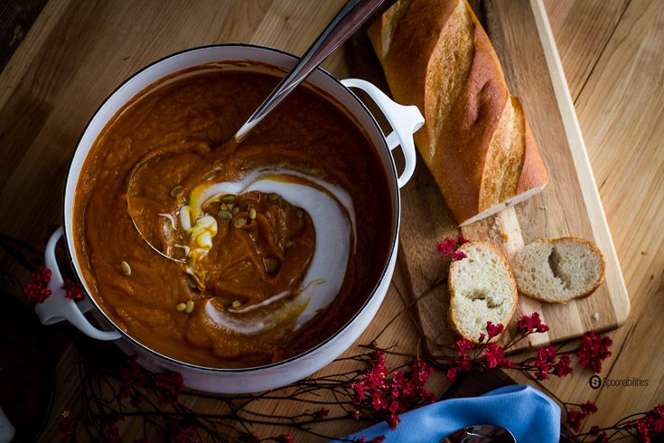 Roasted Pumpkin Bisque is a thick soup made by roasting real pumpkin with Greek Honey with Sage, olive oil, and Ras Hanout for a warm Moroccan flavor. Spoonabilities.com
