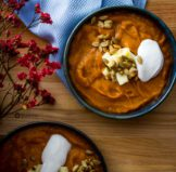 Roasted Pumpkin Bisque : Healthy Fall Soup Recipe