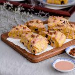 Wooden board of six Cherry Pumpkin Scones