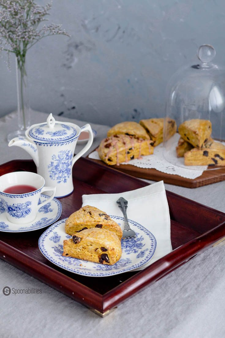 Tea time table set with plate of Cherry Pumpkin Scones