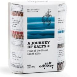 Journey of Sea Salts, Greek Salts Edition by Salt Odyssey. Includes Prime Sea Salt, Sea Salt with Smoked Paprika, Beechwood Smoked Sea Salt & Fleur de Sel. Spoonabilities.com