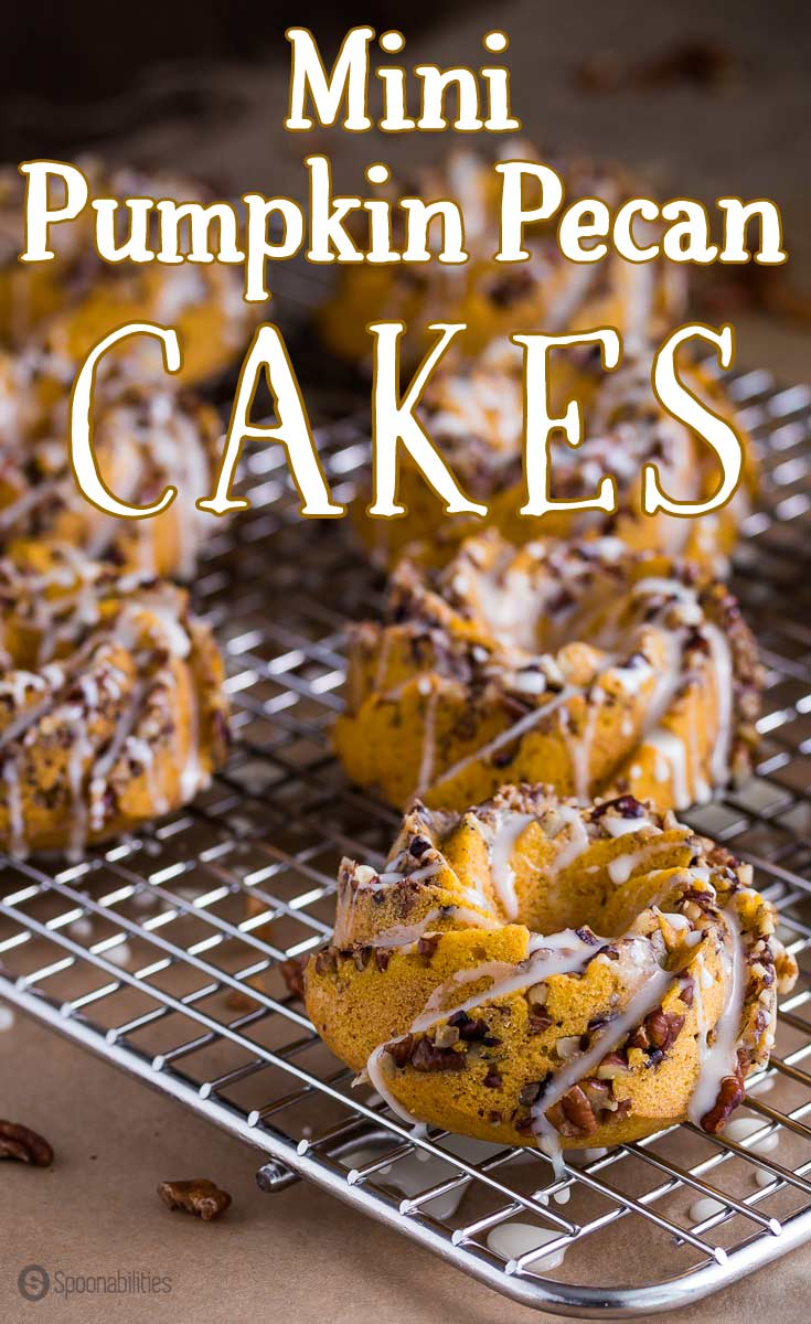 Mini Pumpkin Pecan Cakes | Perfect fall dessert and morning breakfast | Mini bundt cakes with pecan chunks and orange glaze. #dessert #breakfast #bundtcake #donut #pumpkin #cake Spoonabilities.com