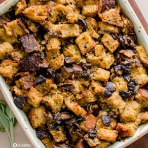 Shiitake Cremini White Mushroom Stuffing. Perfect side dish recipe for Thanksgiving dinner. Spoonabilities.com