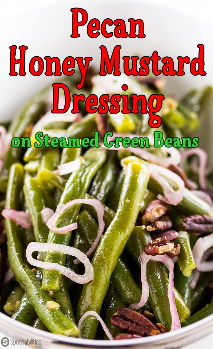 Pecan Honey Mustard Dressing recipe is easy, quick, and you only need three ingredients. Perfect side dish dressing for all your Thanksgiving and Christmas dinners. Spoonabilities.com