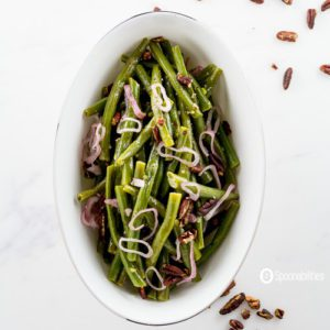 Pecan Honey Mustard Dressing on Green Beans