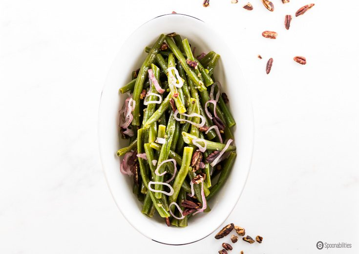 Pecan Honey Mustard Dressing is great for your holiday dinner gathering for side dishes like green beans or veggies. Use as marinade or glaze for chicken, salmon or pork. Spoonabilities.com